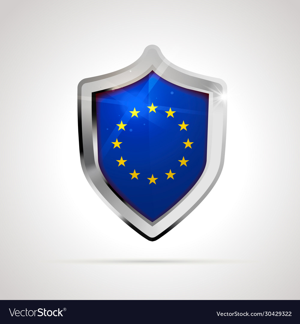 European union flag projected as a glossy shield