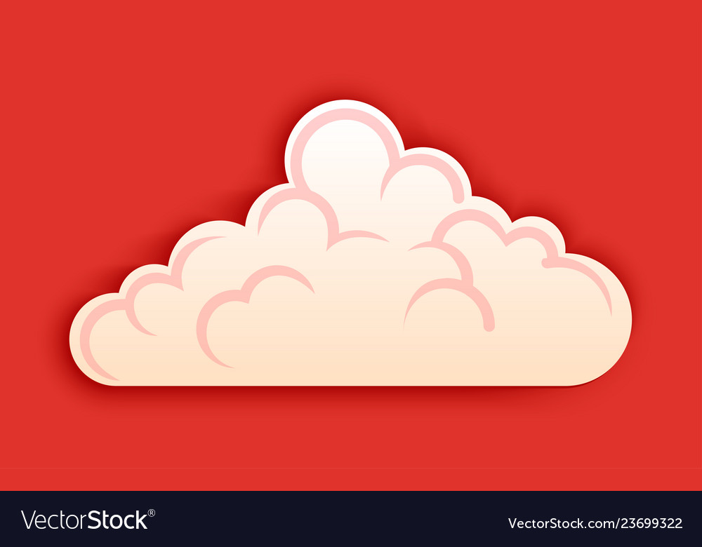 Fluffy cloud clipart in cutted style on