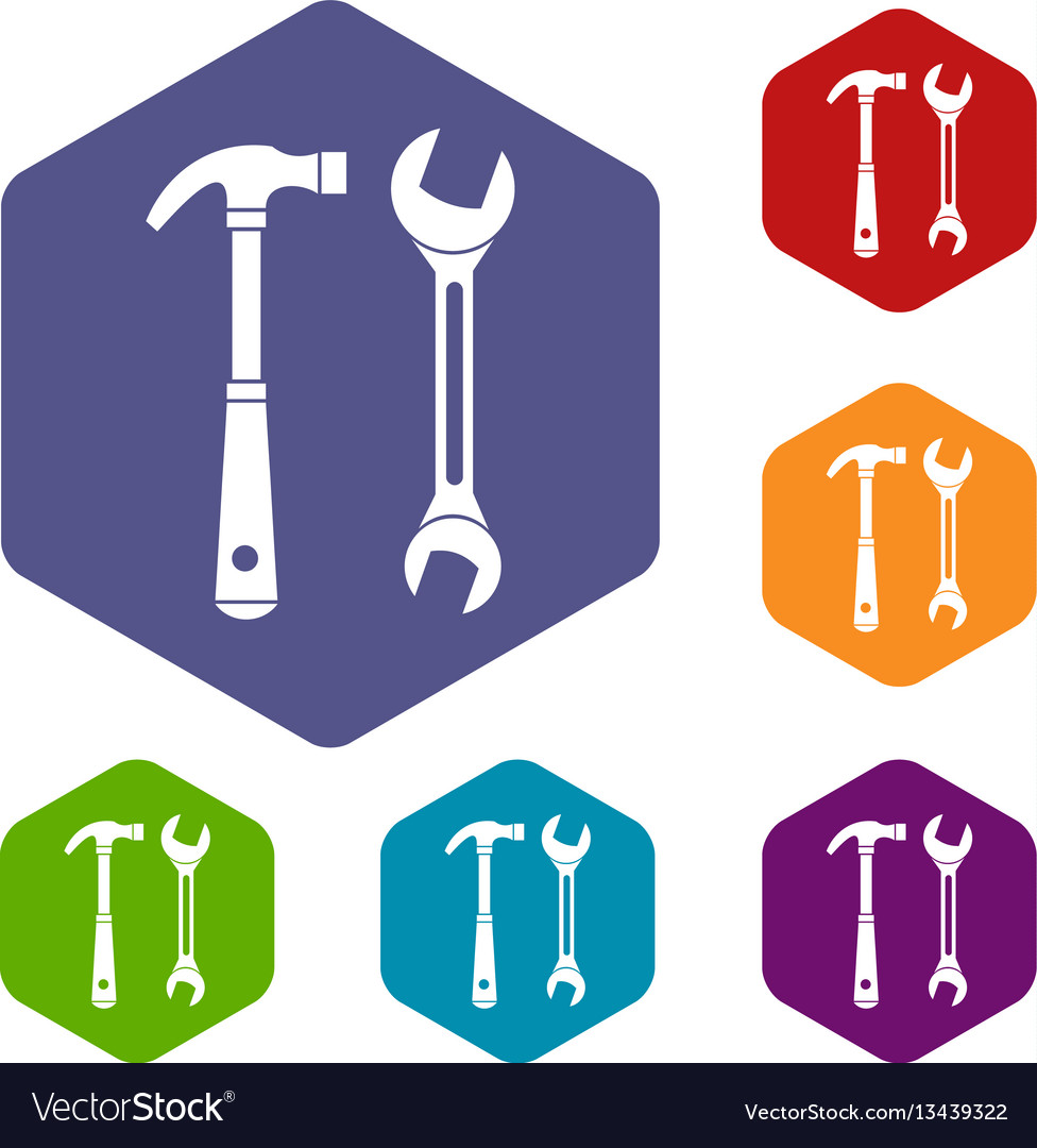 Hammer and wrench icons set vector image