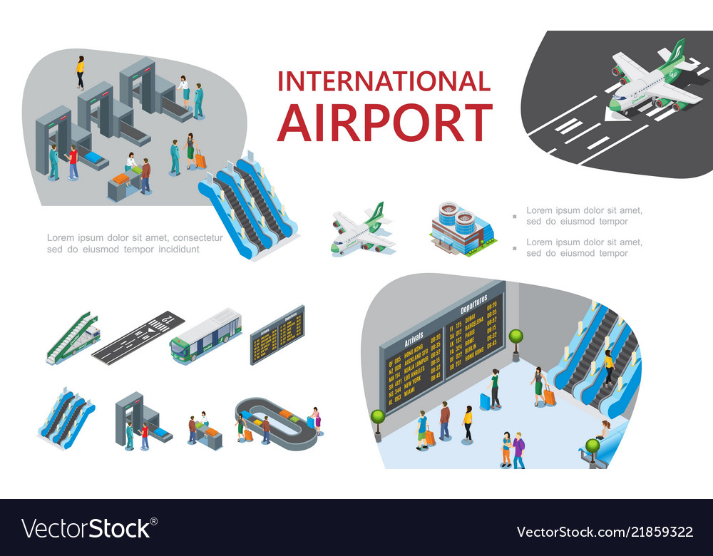 Isometric airport composition