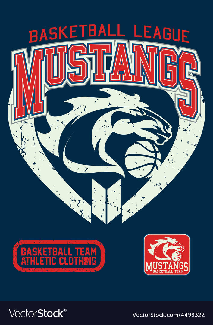 Mustangs basketball league on a navy background vector image