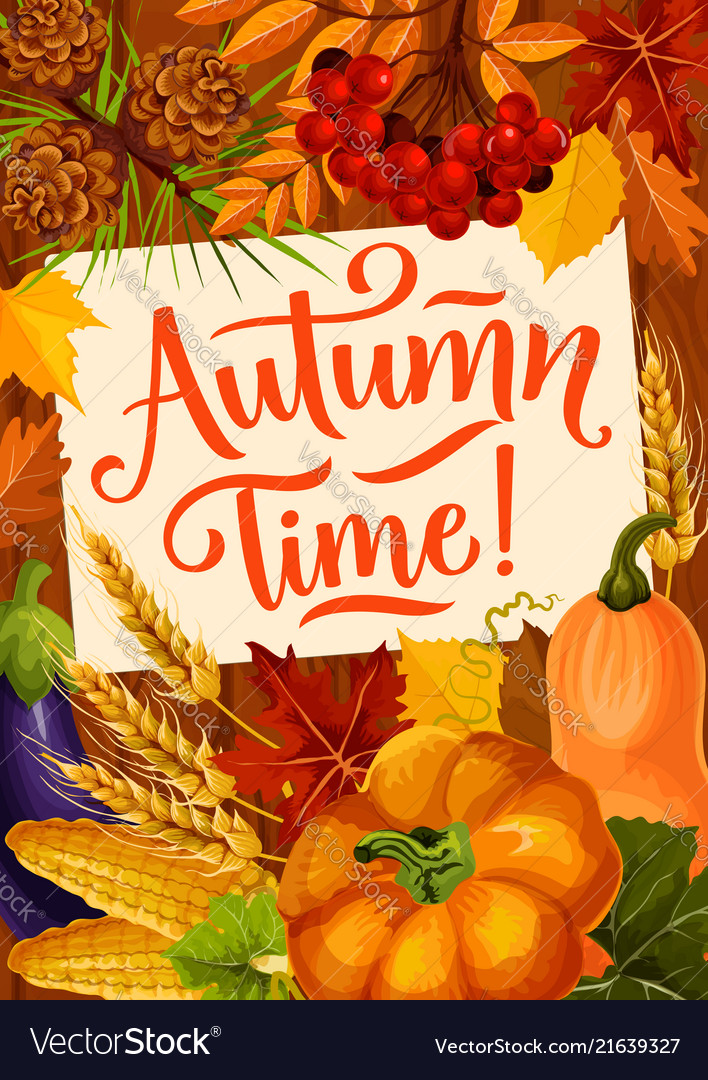 Autumn time quote seasonal reap harvest poster