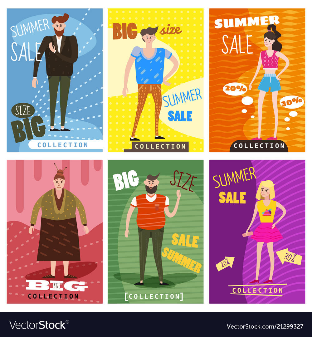 Cards for selling clothes different sizes