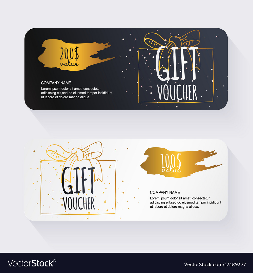 Gift voucher template with gold gift box Gift