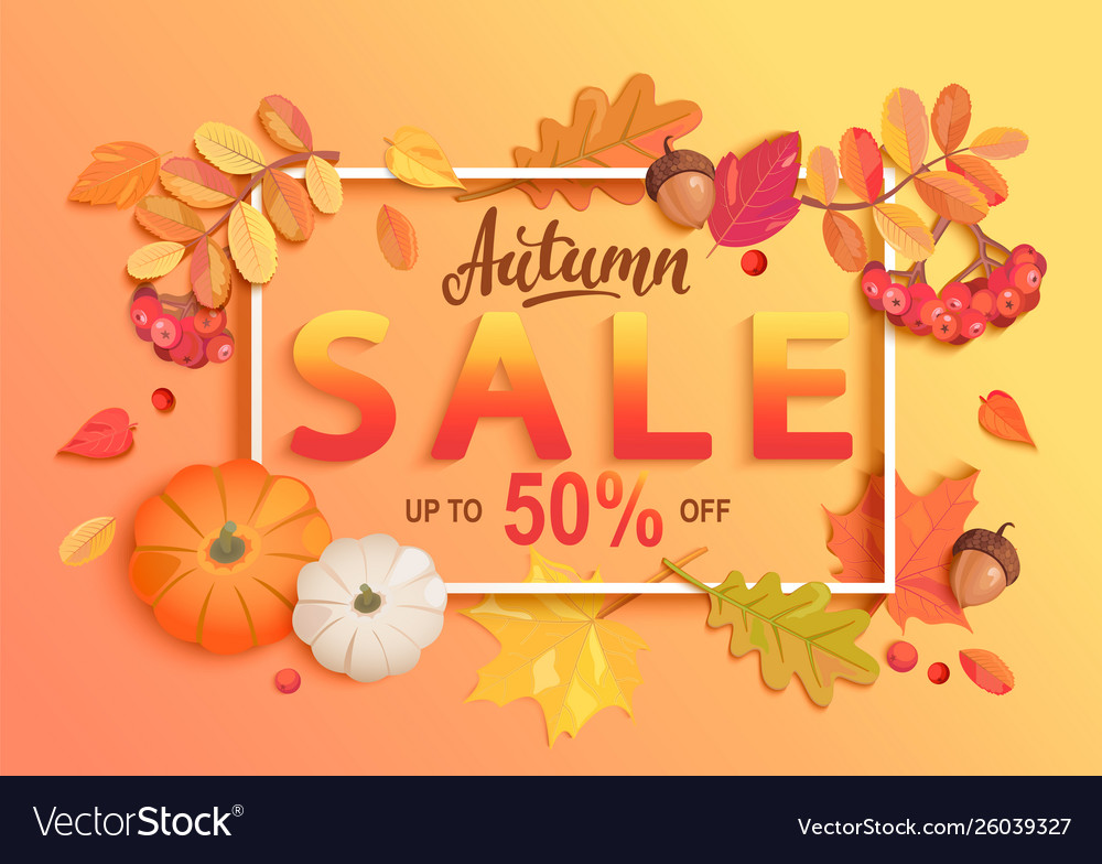 Gold autumn sale banner