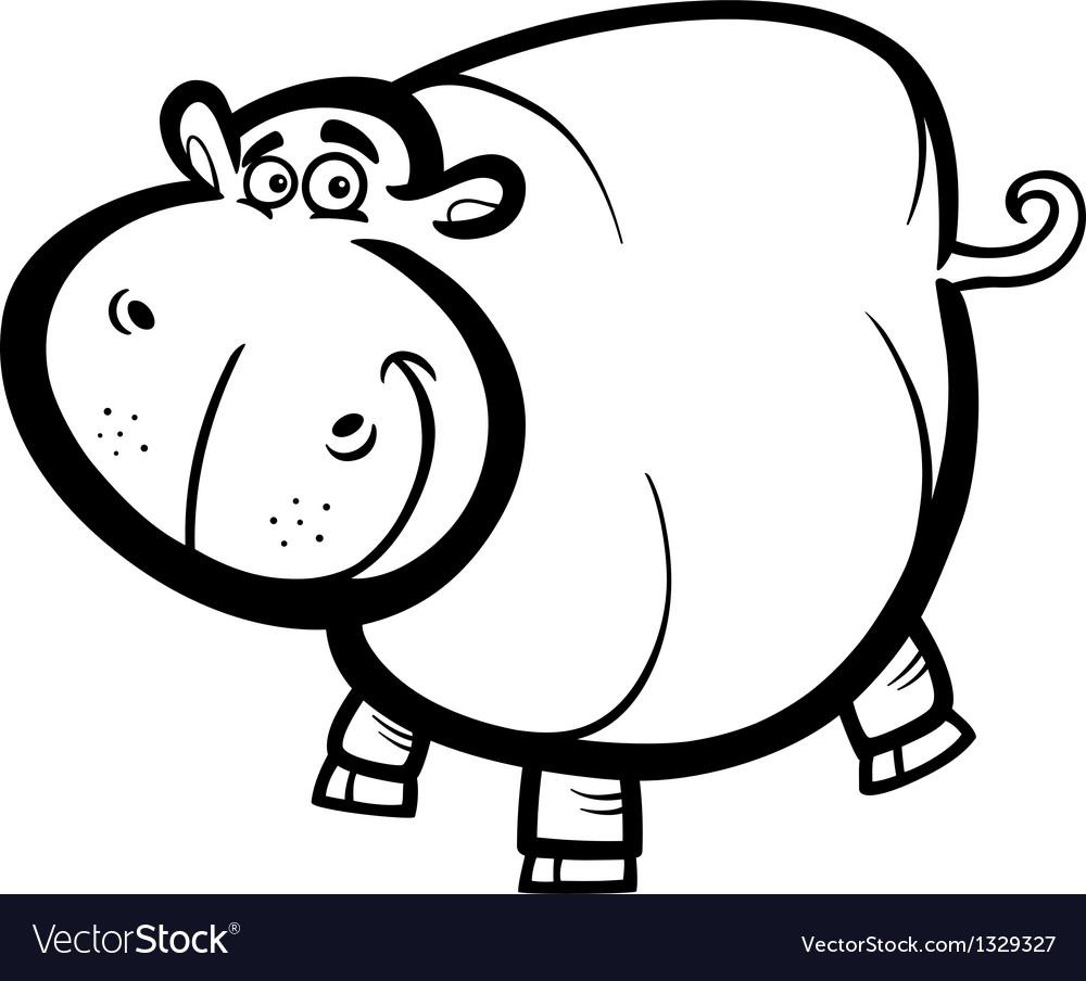 Hippo Or Hippopotamus For Coloring Book Royalty Free Vector
