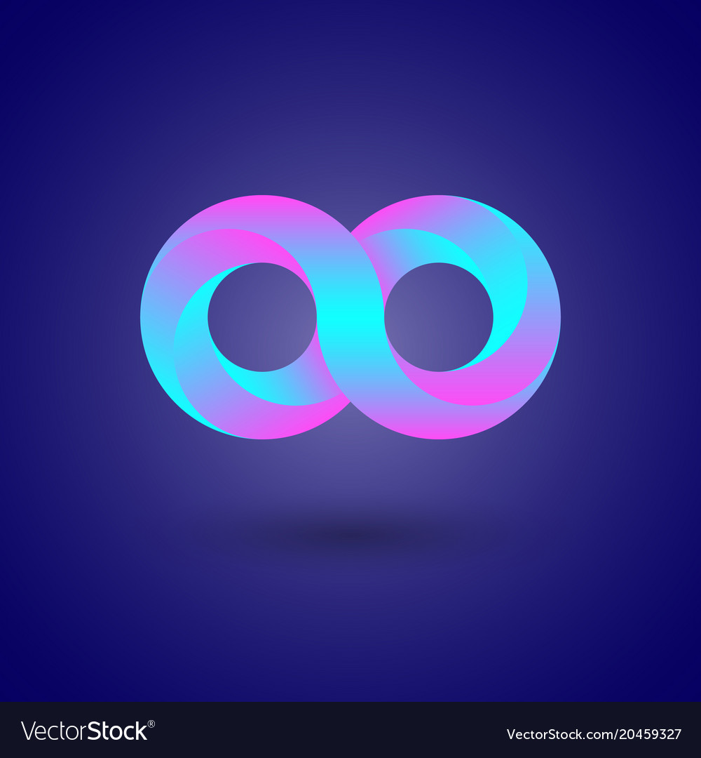 Infinity symbol color 3d infinity icon or logo vector image