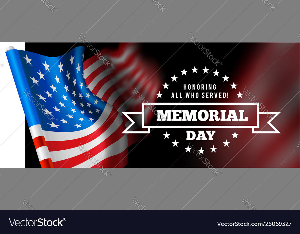 Memorial day with waving flag