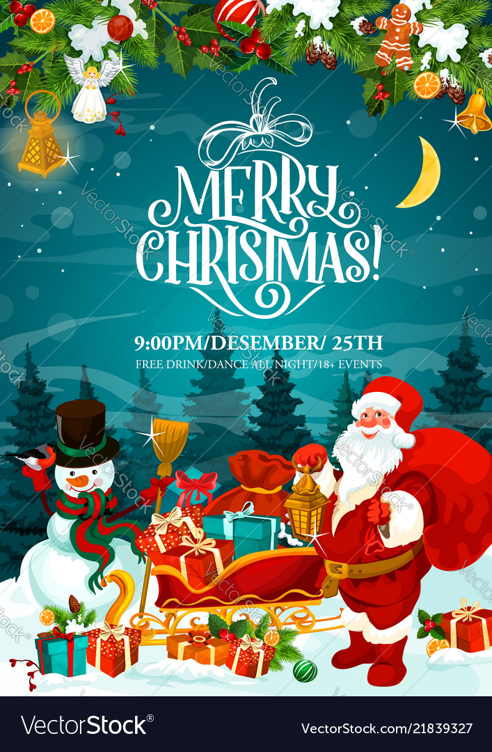 Merry Christmas Santa Party Invitation Card