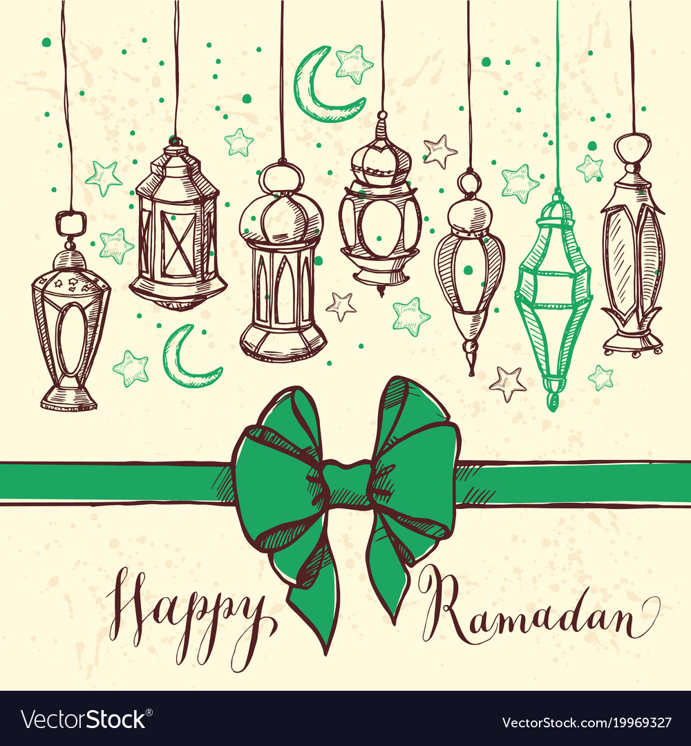 Ramadan kareem with lantern and bow