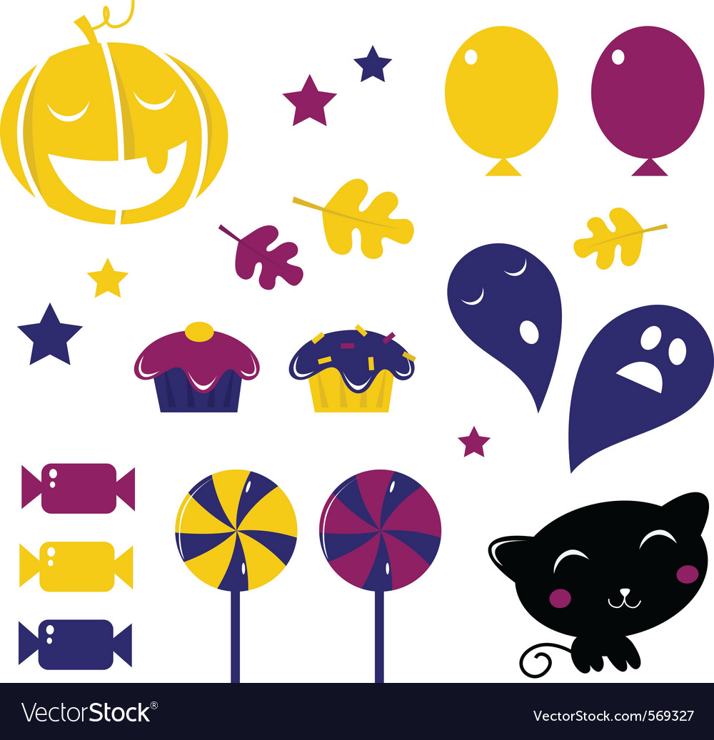 Retro halloween icons vector