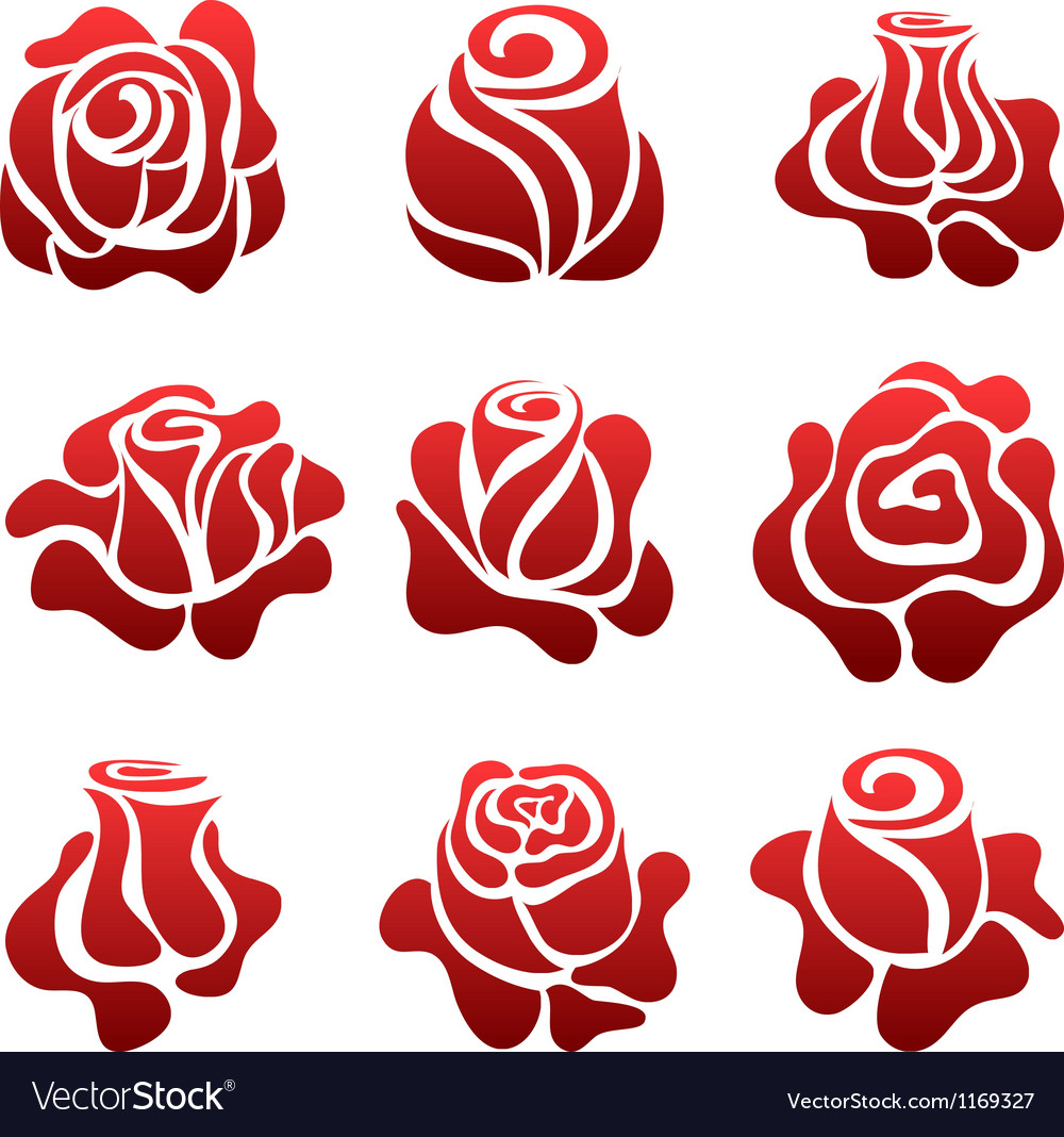Rose Symbol Set Royalty Free Vector Image Vectorstock