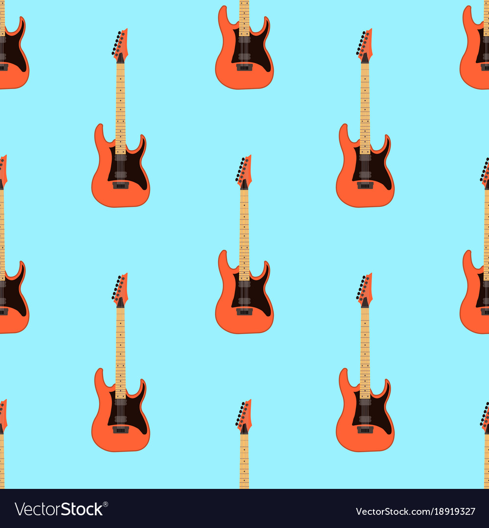 Seamless Electric Guitar Pattern On Light Blue Vector Image