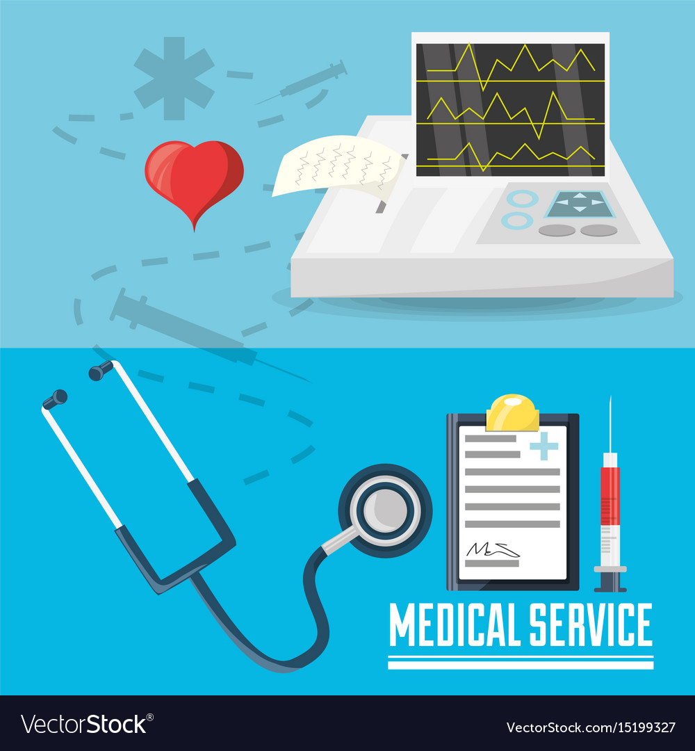 Stethoscope with medical prescription and cardiac vector image