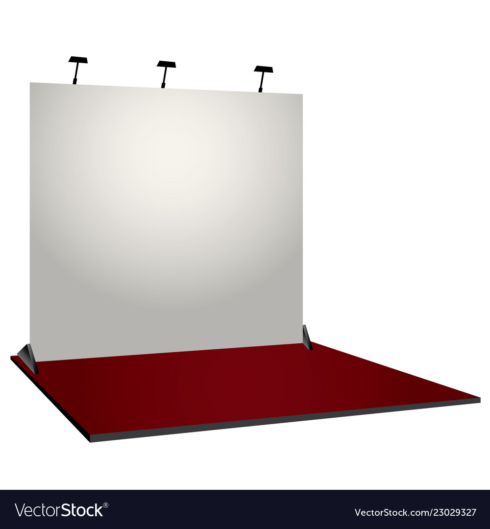 Simple Exhibition Stand : White simple exhibition stand booth design vector image
