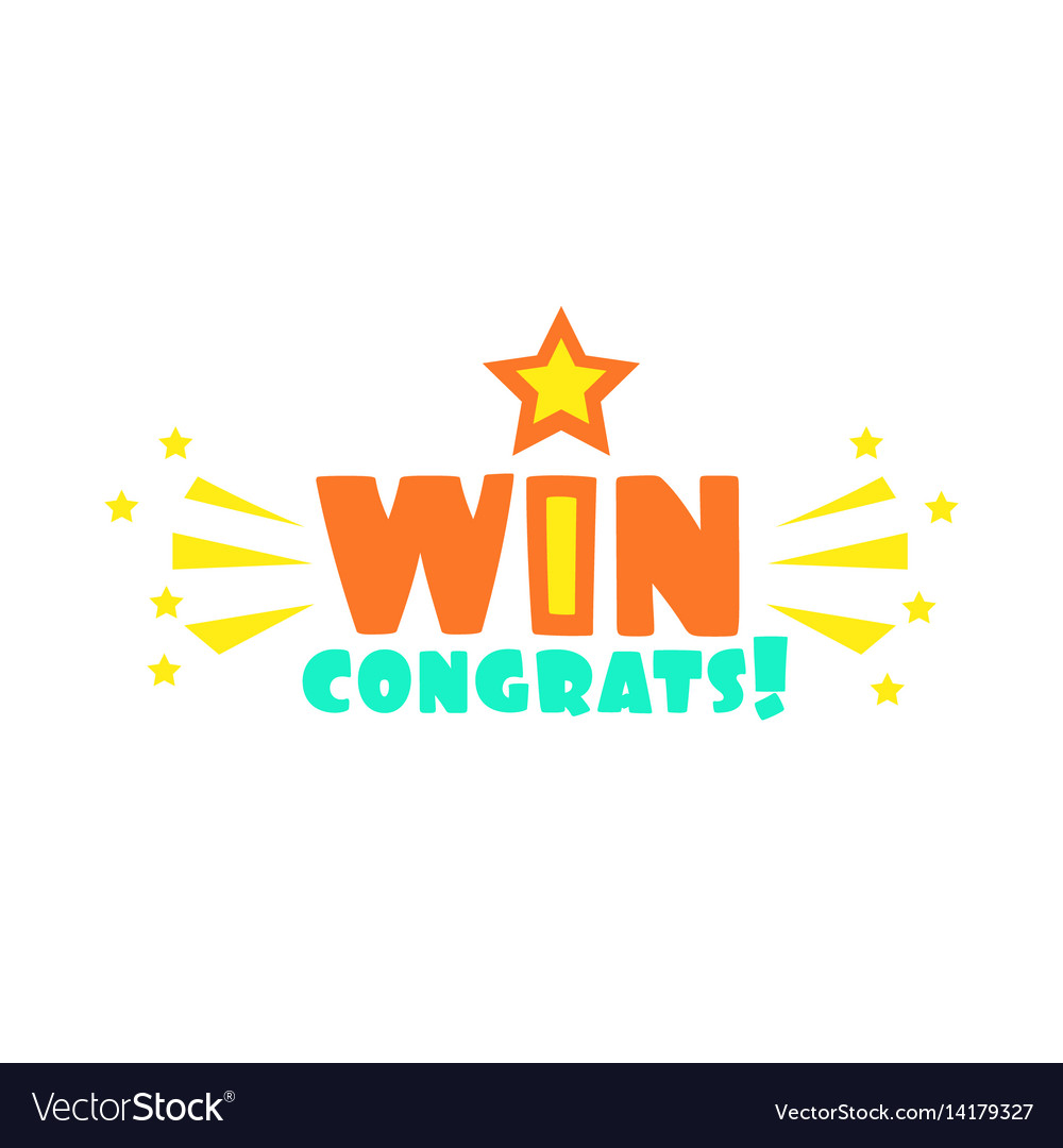 Win congratulations sticker with star and sparks