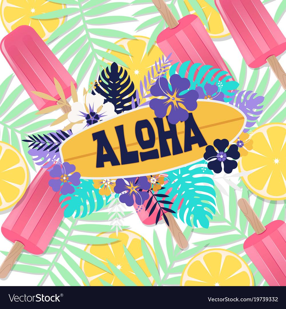 Aloha ice cream jungle lemon background ima