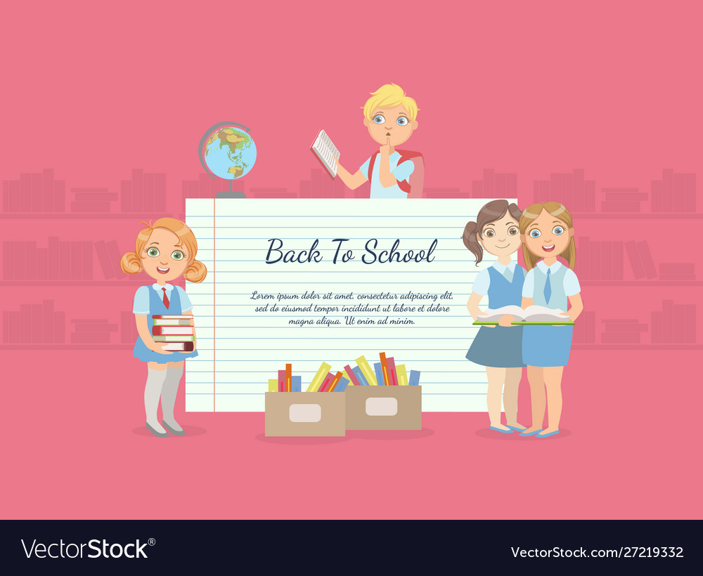 Back to school banner with cute school children