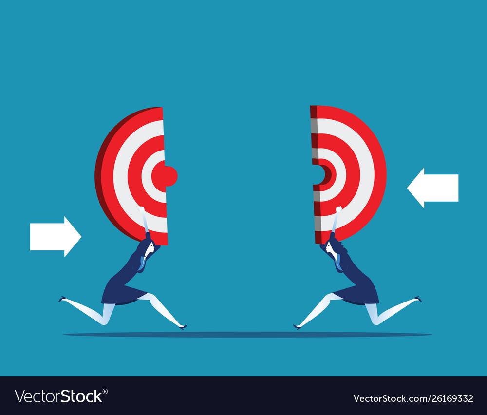 Business holding target teamwork to reach