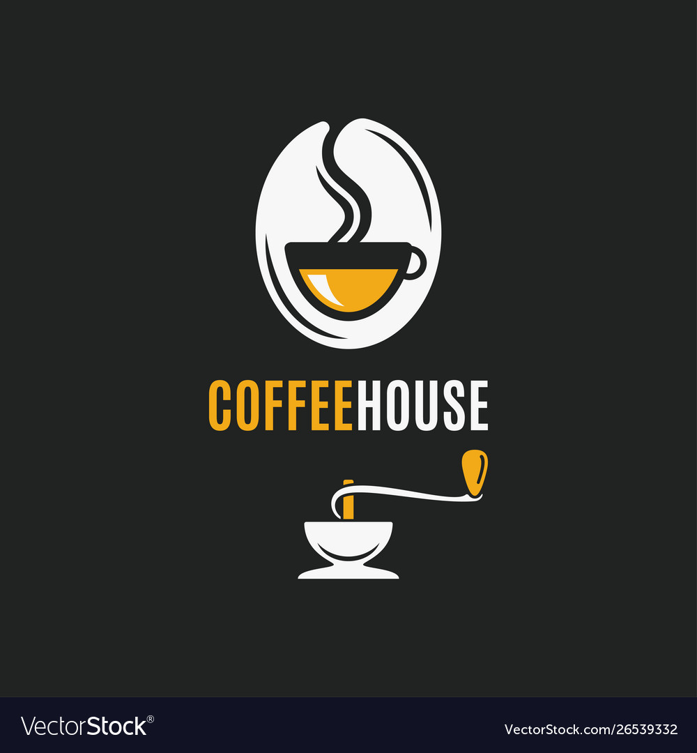Coffee bean logo with coffee cup and grinder