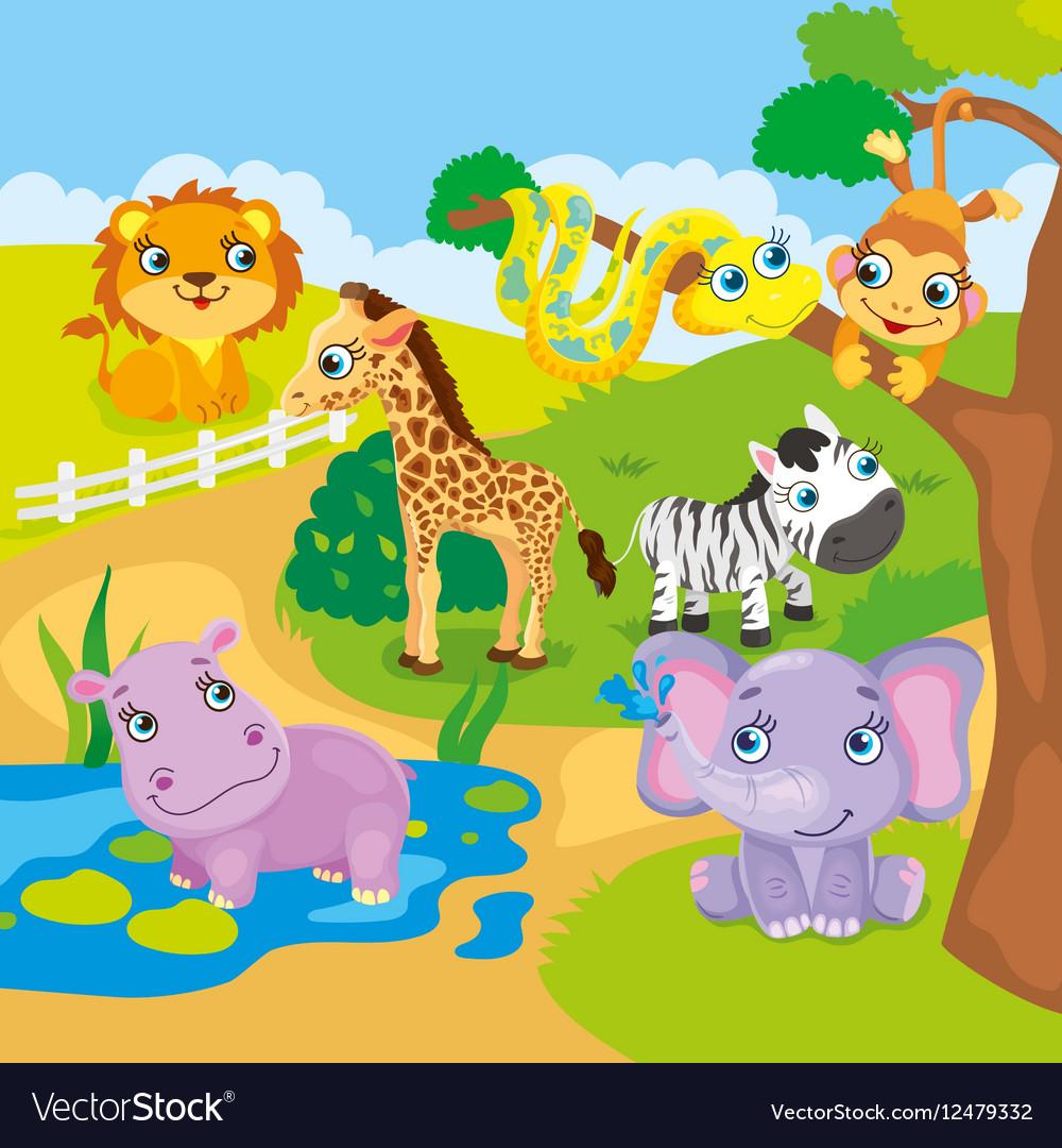 Cute Cartoon Zoo Animals Royalty Free Vector Image