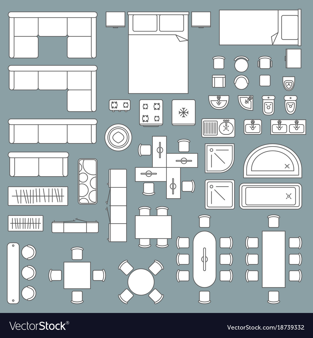 Furniture Top View Architecture Plan Royalty Free Vector