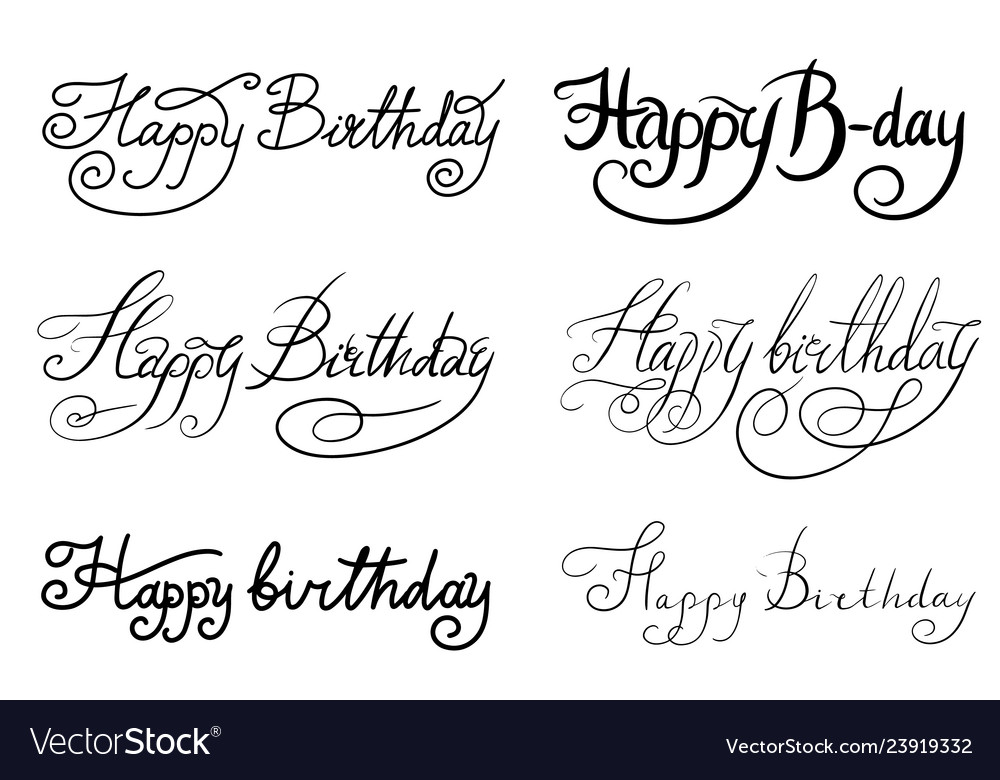 Happy birthday text hand drawn lettering