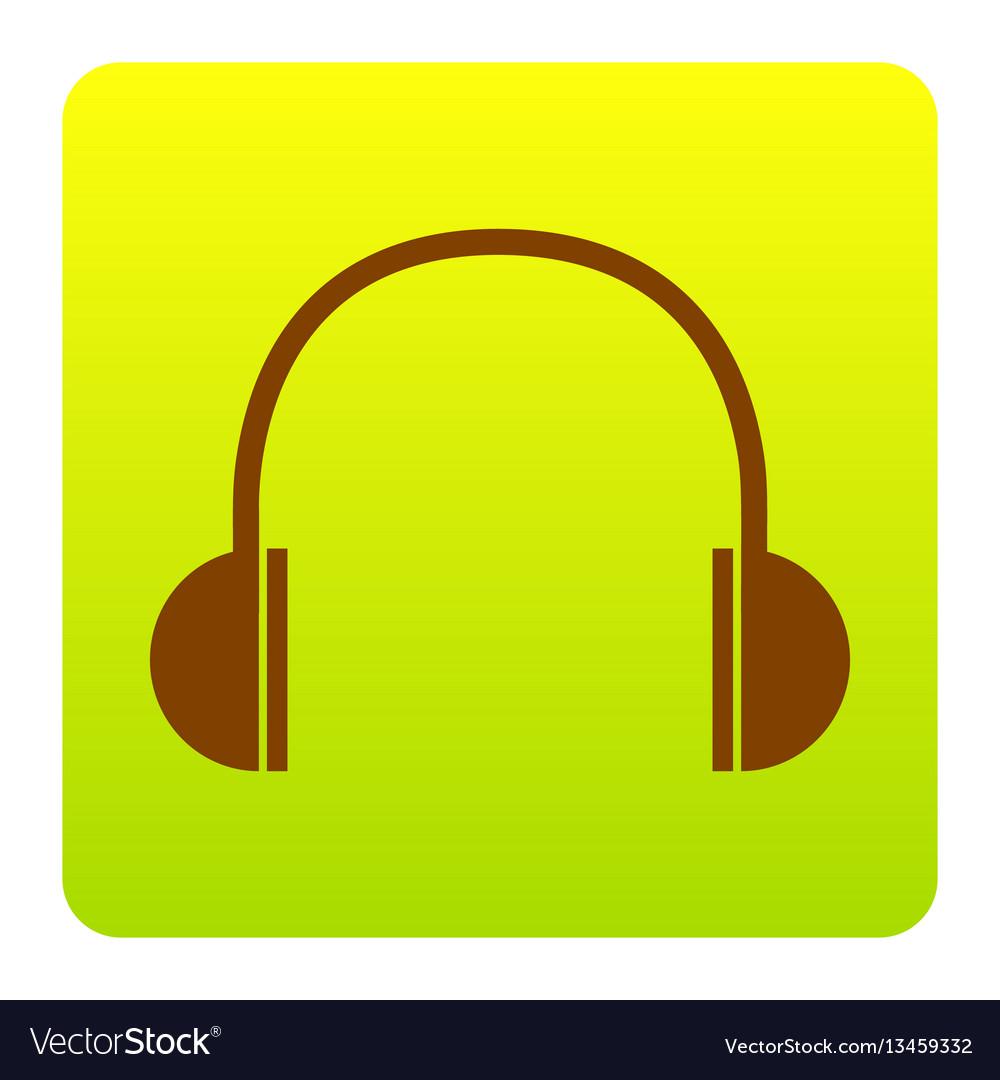 Headphones sign brown icon