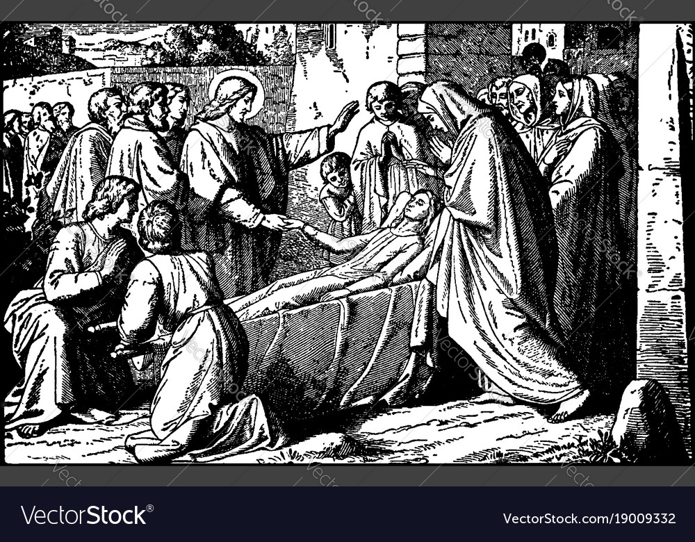 Jesus raises the son of the widow of nain vintage vector image