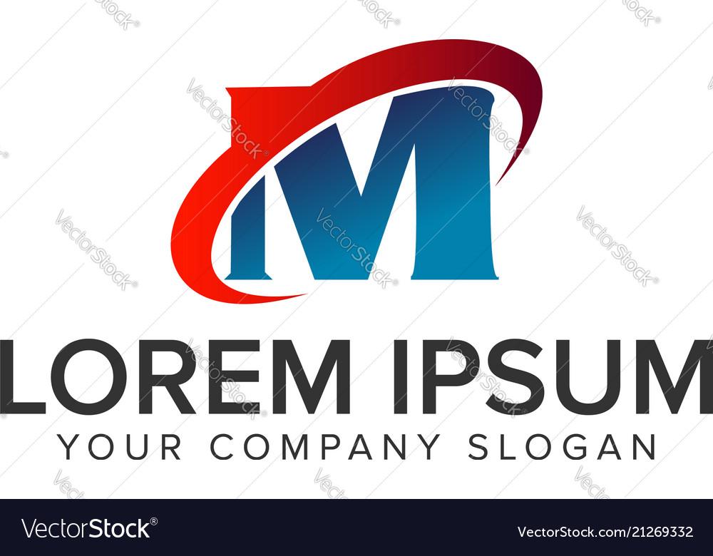 Letter m technology logo design concept template
