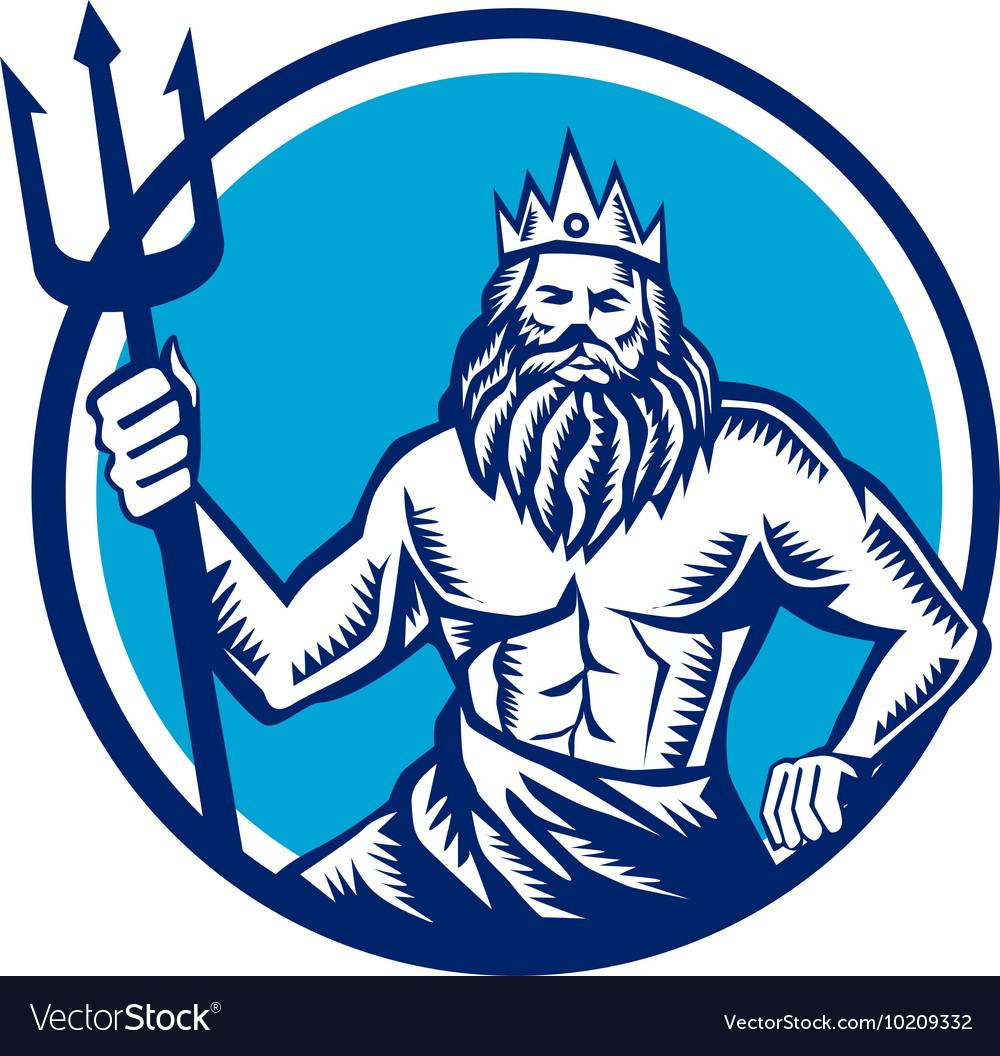 Poseidon Trident Circle Woodcut Royalty Free Vector Image