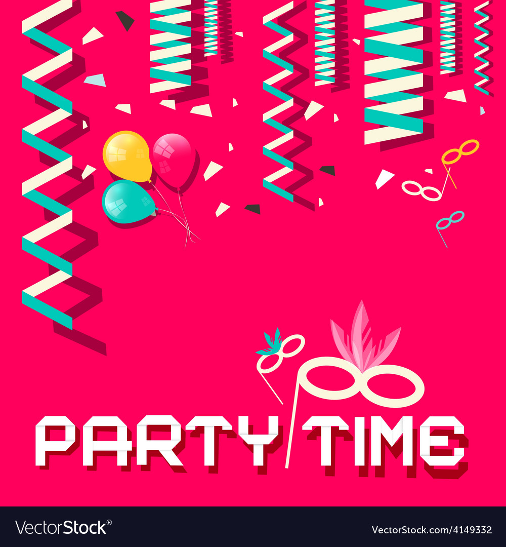 Retro Party Time Flat Design with Confetti a