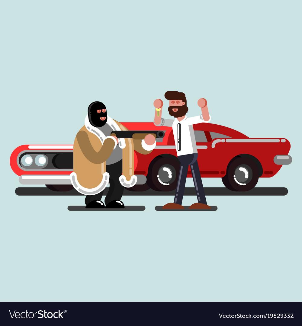 Robber steal a car