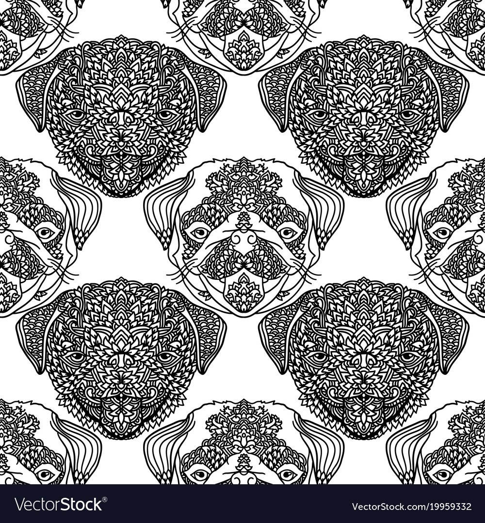 Seamless pattern with cute dogs pug puppy