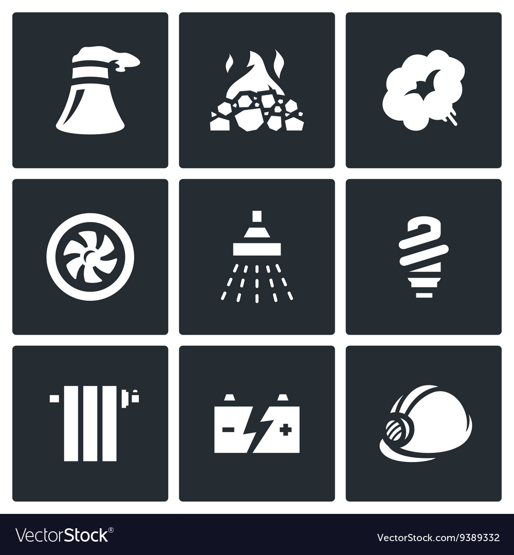 Set of Thermal power plant Icons