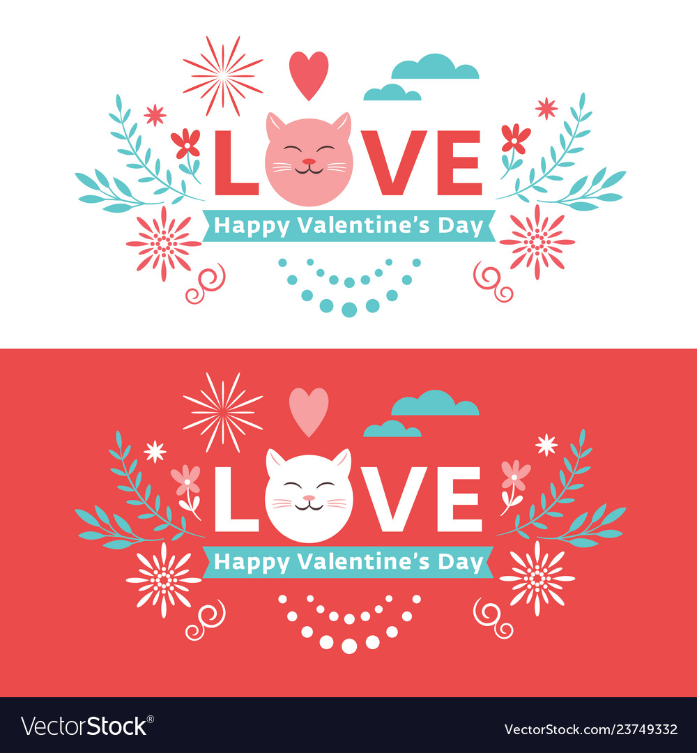 Valentines day lettering banner