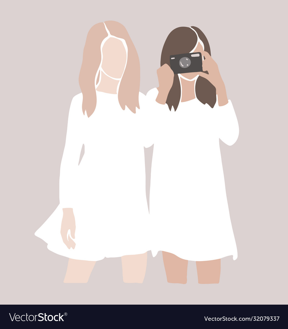 Abstract girls silhouettes friends together