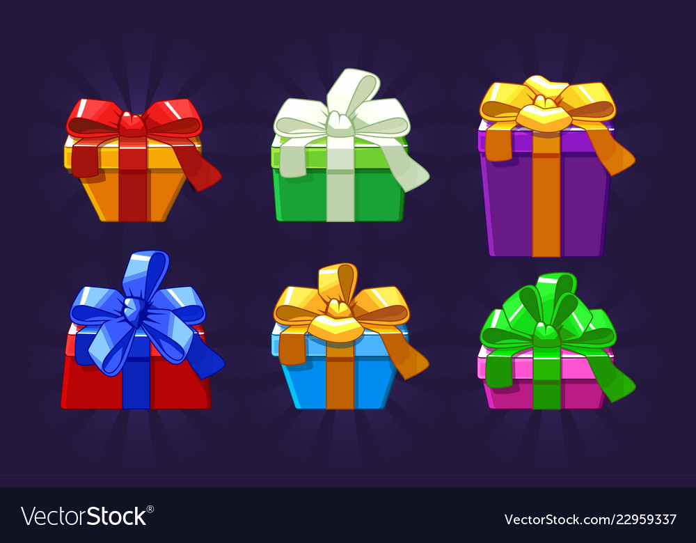 Cartoon different colored and shape gift box
