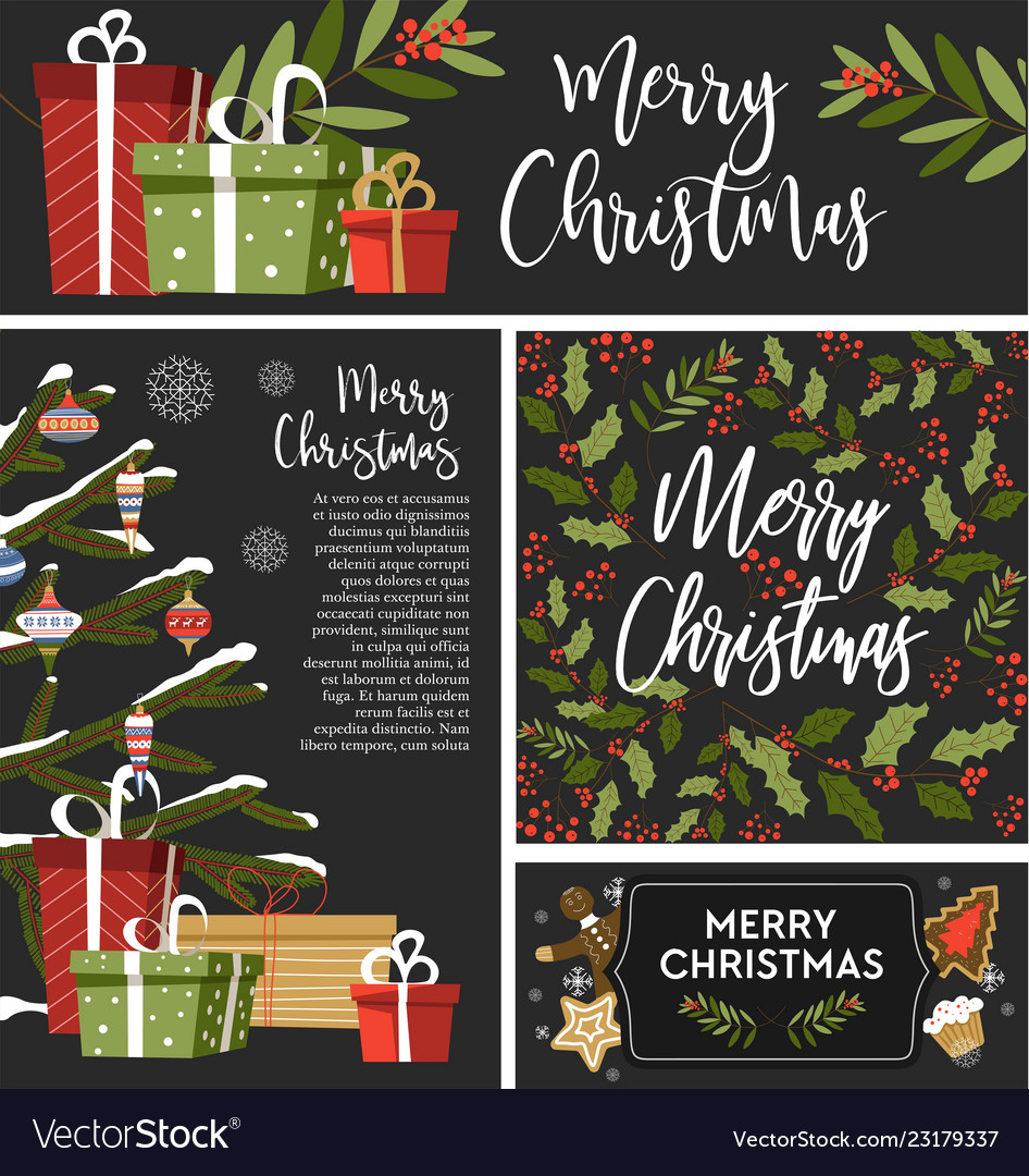 Christmas set of greeting banners cards and