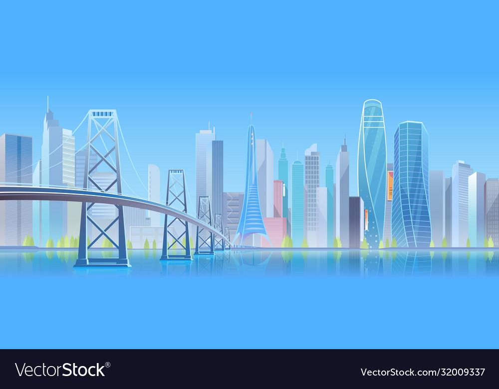 City bridge cartoon flat