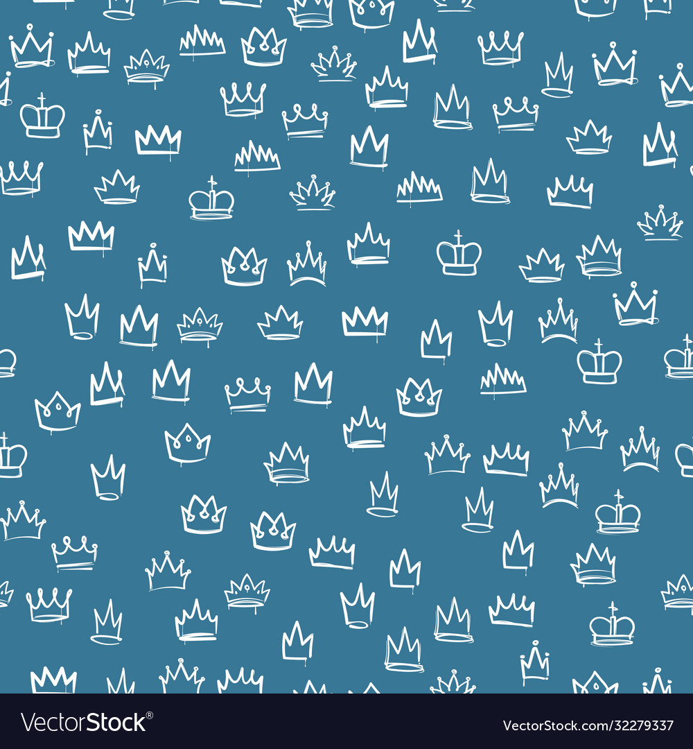 Crowns seamless pattern hand drawn texture