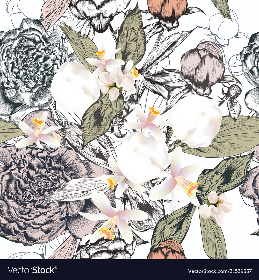 Fashion pattern with hand drawn peony flowers