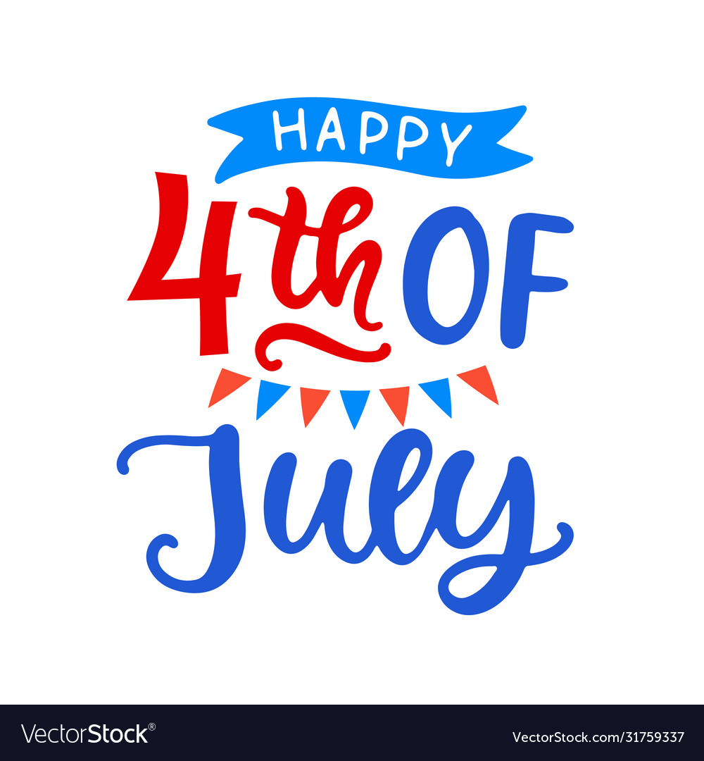 Happy fourth july hand written ink lettering