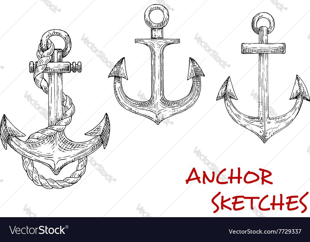 Heraldic ship anchors sketch icons