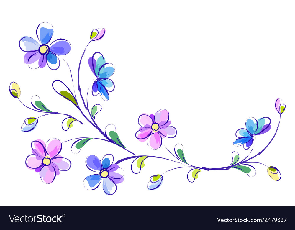 Horizontal white background with blue flowers vector image mightylinksfo