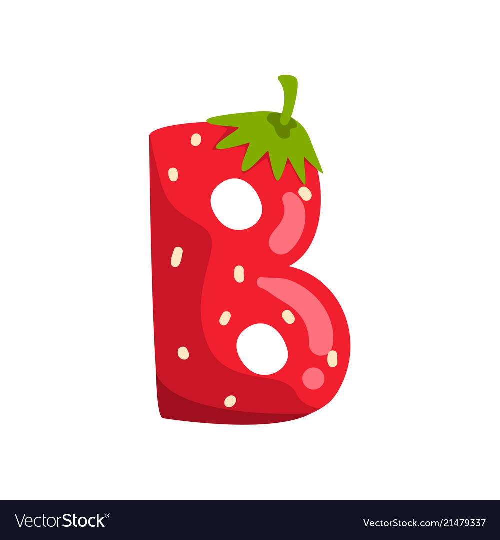 Letter b of english alphabet made from ripe fresh