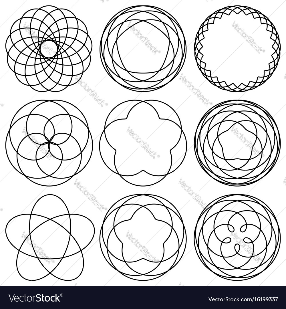 Set spirographic elements for design of labels vector image