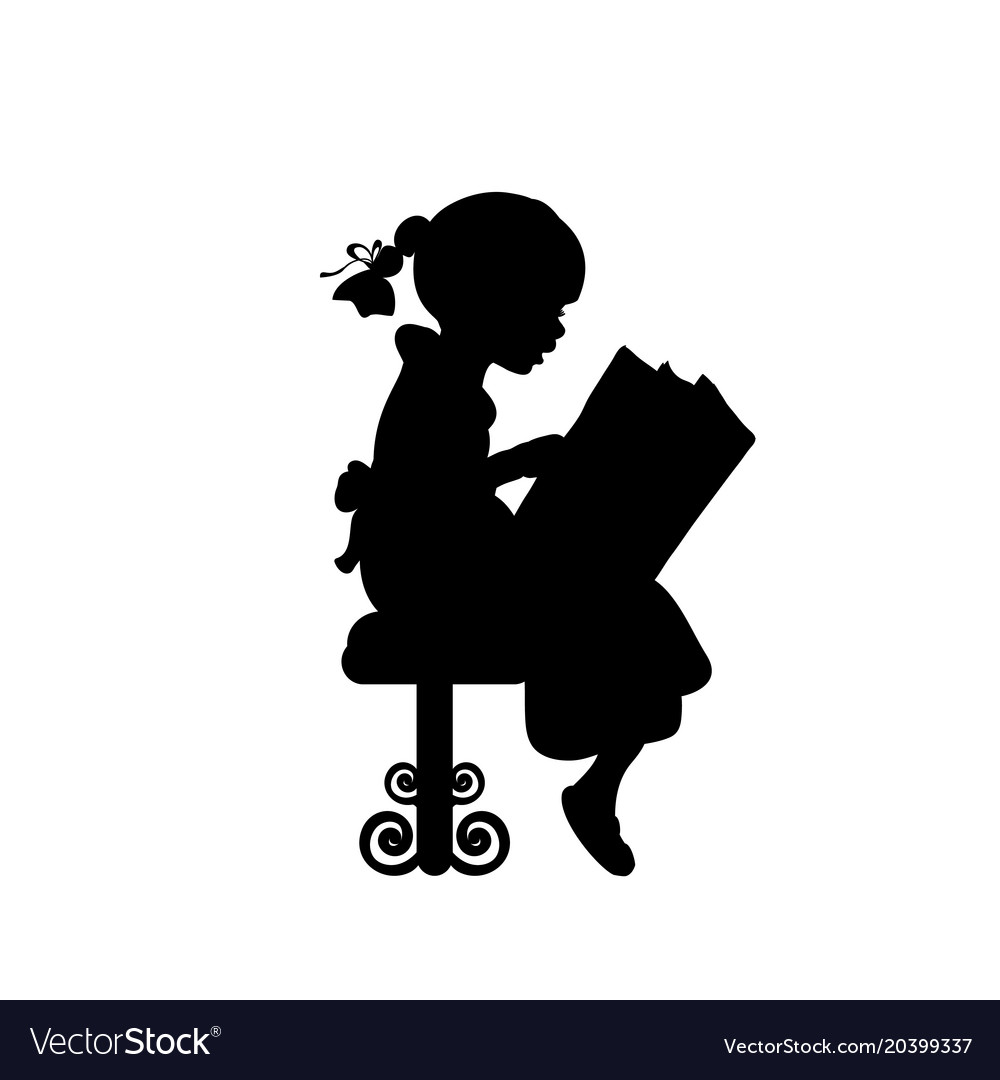 silhouette of girl reading books royalty free vector image