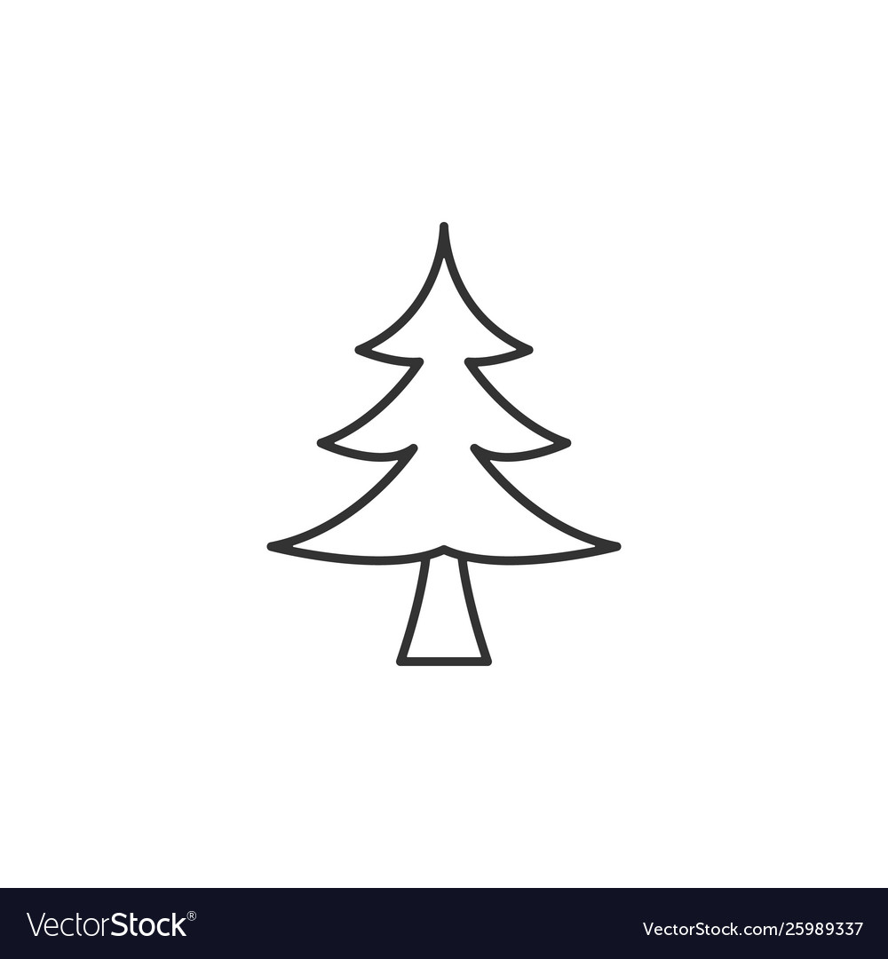 Tree christmas line icon simple modern flat for