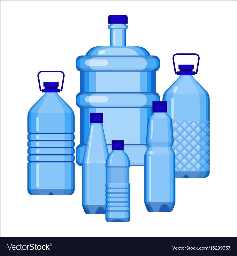 Water bottles set of various size on white